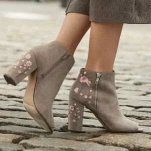 Candies Limo Peep Toe Embroidered Ankle Boots
